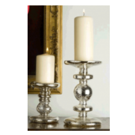 Antiqued Silver Candlesticks
