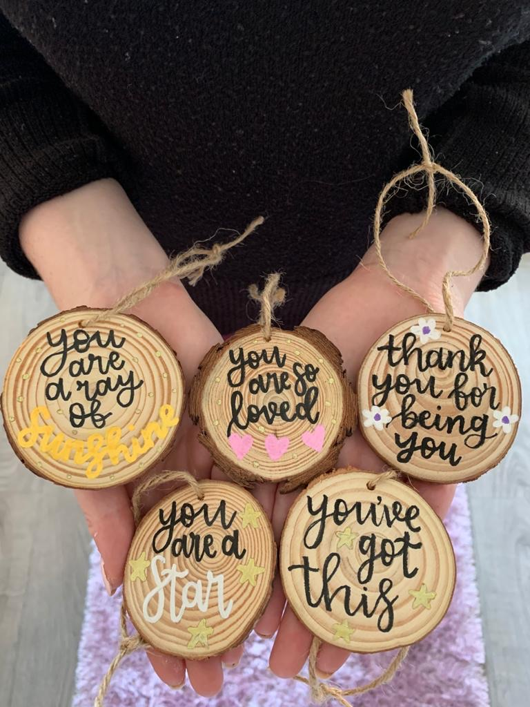 Hand-lettered wooden notes